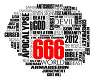 666 Word Cloud Vector. World Cloud about the biblical Apocalypse and 666 isolated on white Royalty Free Stock Photos