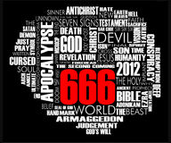666 Word Cloud Vector Black. World Cloud about the biblical Apocalypse and 666 isolated on black royalty free illustration
