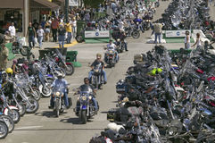 The 67th Annual Sturgis Motorcycle Rall. Elevated view of Main Street with motorcycles lining road at the 67th Annual Sturgis Motorcycle Rally, Sturgis, South royalty free stock photo