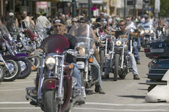 67th Annual Sturgis Motorcycle Rally,. Motorcyclists driving down Main Street Sturgis at the 67th Annual Sturgis Motorcycle Rally, Sturgis, South Dakota, August stock images