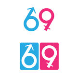 69 he and she. The symbol 69, he and she on the white background Vector Illustration