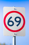 69 Road Sign On The Highway Of Love. Road Speed Sign On Route Sixty Nine, 69 or Sixty-nine, The Highway Of Love And Sexual Pleasure Royalty Free Stock Photo
