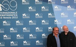 69th Venice Film Festival. Pino Donaggio and Brian De Palma pose for photographers at 69th Venice Film Festival on September 8, 2012 in Venice, Italy Royalty Free Stock Photos