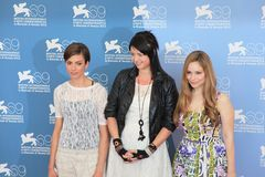 69th Venice Film Festival. Alex Schmidt poses with her film's cast for photographers at 69th Venice Film Festival on September 8, 2012 in Venice, Italy Stock Photos