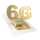6G circuit microchip SIM card emblem isolated Stock Photo
