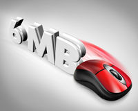 6MB speed mouse. Three dimensional rendering of a red computer mouse and the characters 6MB for fast data transfer Stock Photo