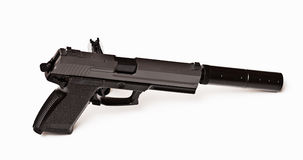 6mm BB pistol. Photo of airsoft gun with silencer Stock Photos