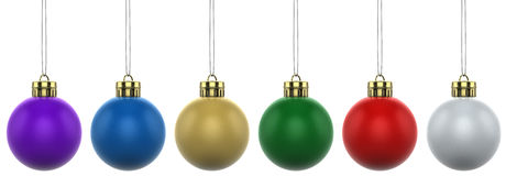 6x Christmas Baubles with gold caps. XXL. 6 Multicolored Christmas baubles (balls) with gold caps. Created in Cinema4D vector illustration