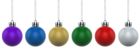 6x Christmas Baubles with silver caps. XXL. 6 Multicolored Christmas baubles (balls) with silver caps. Created in Cinema4D Stock Photo