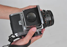 6X6 format camera. With lens Stock Photo