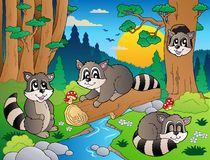 7个动物多种森林场面 免版税库存图片
