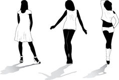7个女孩被设置的剪影 图库摄影