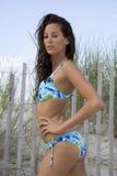 7个宝贝比基尼泳装蓝色 免版税库存照片