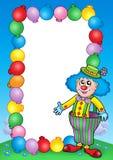7个小丑框架邀请当事人 免版税库存照片