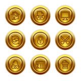 7个按钮金图标设置了万维网 免版税库存图片