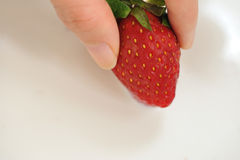 7个牛奶系列草莓 库存照片
