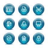 7个球玻璃图标设置了万维网 免版税库存照片