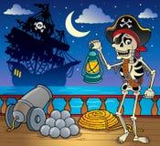 7个甲板海盗船主题 免版税库存图片