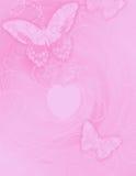 7个蝴蝶桃红色漩涡 免版税库存图片