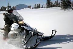 7个车手snowmachine雪上电车 免版税库存照片