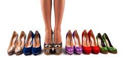 7双行程鞋子 库存图片
