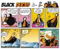 7只黑色可笑的鸭子情节主街上 免版税库存照片