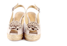 7名s凉鞋绒面革楔子妇女 免版税库存照片