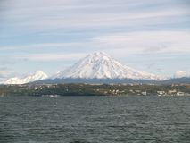 7张koryaksky透视图火山 免版税库存照片