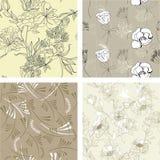 7花卉模式无缝的集 库存照片