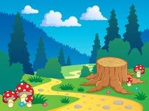 7部动画片森林横向 免版税库存图片