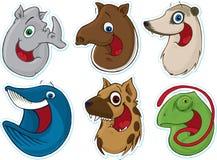 7 αυτοκόλλητες ετικέττες χαμόγελου μαγνητών ψυγείων προσώπου ζώων Στοκ φωτογραφία με δικαίωμα ελεύθερης χρήσης