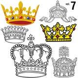 7 βασιλικές εντάσεις κορωνών Στοκ εικόνα με δικαίωμα ελεύθερης χρήσης