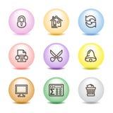 7 икон цвета шарика установили сеть Стоковая Фотография RF