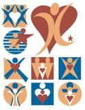 7 людей логосов собрания Стоковое Изображение