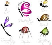 7 насекомых принципиальной схемы различных стилизованных Стоковое Изображение RF