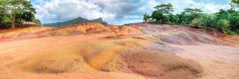 7 покрашенная земля Chamarel, Маврикия Стоковое фото RF