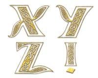 7 прописных золотистых пем Стоковое Изображение