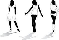 7 силуэтов установленных девушками Стоковая Фотография