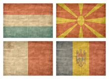 7/13 Flags of European countries. Vintage collection of european country flags isolated on white background. Luxembourg, Macedonia, Malta, Moldova stock illustration