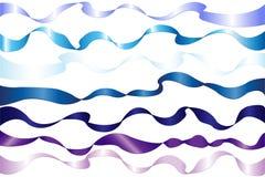 7条蓝色丝带向量 免版税库存图片