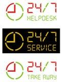 7 24 symbolsvektor Royaltyfri Bild
