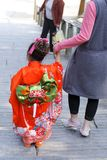 7,5,3 (Shichi-go-san)-costume. Shichi go san (7,5,3) is a children festival held in Japan in the beginning of November(15th).7,5,3 years old children go to Stock Images