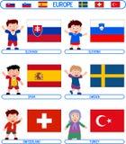 7 малышей флагов европы Стоковые Фотографии RF