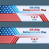 套横幅设计与在国旗的星7月四的,美国人美国独立日 库存图片