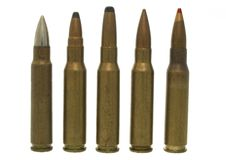 7,62 x 51 - isolated ammos. Five different sorts bullets same calibre Royalty Free Stock Photos
