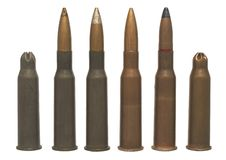 7,62 x 54 - isolated ammos. Six different sorts bullets same calibre Royalty Free Stock Photo