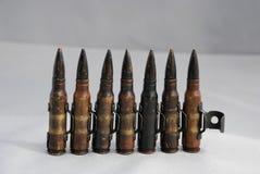 7.62 milímetros de munición de la ametralladora Imágenes de archivo libres de regalías