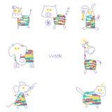 印刷品为儿童的星期有一系列的7个动物 库存照片
