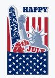 7月四日庆祝的美国拼贴画 自由女神像、旗子和纪念碑 美国标志减速火箭的设计  免版税库存图片