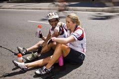 7 94 wyzwań cyklu cyklista raniący fotografia stock